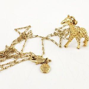 J. Crew Necklace Giraffe Pendant Charm Gold Tone